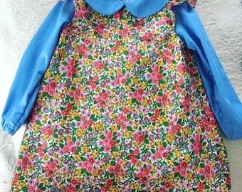 Vintage floral handmade flutter sleeve shift Dress Girls Size 2t