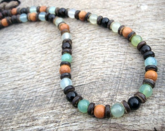 Mens surfer necklace, green jade, wood and coconut shell beads, tribal style, handmade from natural materials, genuine jade, one of a kind