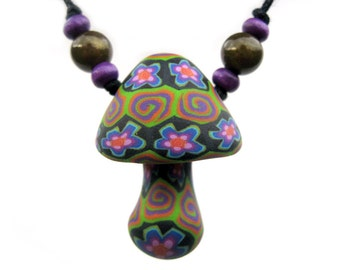 Pretty mushroom pendant with millefiori flower and spiral patterns, hippie, colorful, handmade from polymer clay, one of a kind, with beads