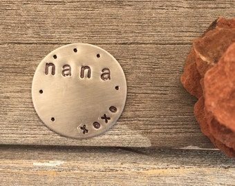 NANA hand stamped GOLF MARKER 1 inch diameter xoxo For Grandma golfer Mother's Day gift