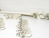 Vintage Curtain Rods/ Drapery Clips/Rings White Shabby Chic Metal Set of Two