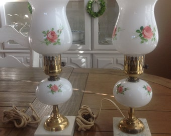 Pair of Milk Glass Lamps with Hand Painted Roses Brass Colored Fixtures