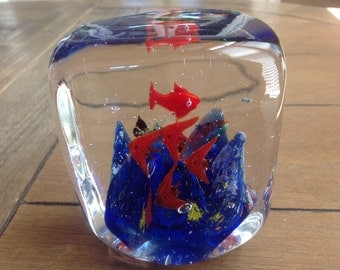 Large Murano Style Paperweight Fish Aquarium Heavy Hand-Blown Glass Artwork