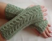Fingerless  Gloves. Alpaca  Sale Knit Wristers. Hand  Warmers. Green.Women's  Fingerless  Gloves.Warm  mitts. Winter  Alpaca  Cable.Gift.