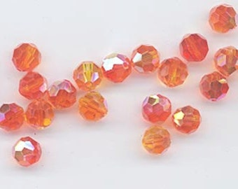24 gorgeous Swarovski crystals - art 5000 - 6 mm - fireopal AB