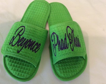 Slippers Customize your own Velour slippers or waffle weave Slippers, Bridal party slippers use your own design, custom made for you!