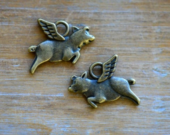 Flying Pig Charm -  Vintage Style Pendant - Antique Bronze - When Pigs Fly Charms Jewelry Supplies (N028)