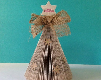 Shabby Chic, Rustic Christmas Tree, Book Page Christmas Tree