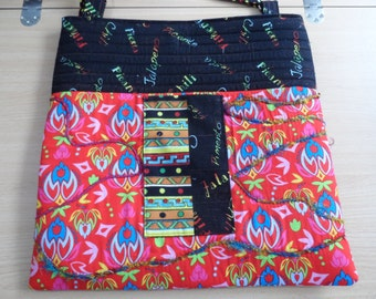 Satchel Shoulder Bag - Quilted Shoulder Bag - Messenger Bag - Ladies Shoulder Bag - Patchwork Hip Bag - Laptop Bag - Notebook Bag