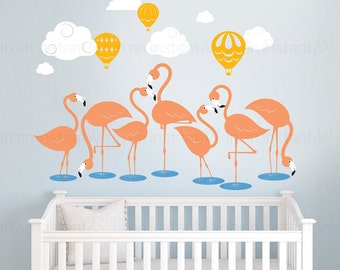 Flamingo and Hot Air Balloons Wall Decal   Custom Baby Nursery and Children's Room Interior Design   Easy Application 148