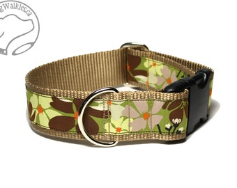 "Fall Blooms on Chartreuse Wide Dog Collar / 1.5"" (38mm) wide / Choice of size and style / Side Release or Martingale Dog Collar / Caramel"