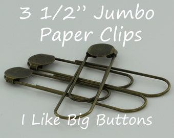 50 - Antique Brass - Jumbo / Giant 3 1/2 Inch Bookmarks/Paper Clips/Paperclips w/ Glue Pads Large