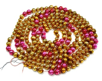 VINTAGE: 225 Mercury Glass Bead Strand - Mercury Beads - Gold Beads - Pink Beads - (5-A4-00005551)