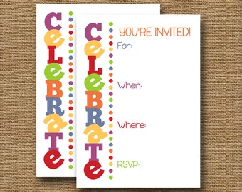 """Fill In the Blank Invitation   Fall, Thanksgiving Write In Invitation   DIY PRINTABLE   """"Celebrate"""" Autumn Colors   Generic Party Invitation"""