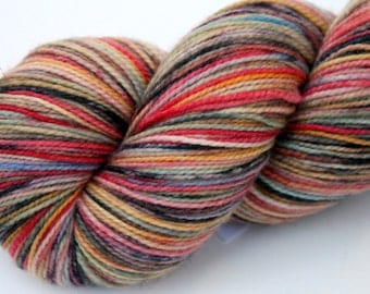 """Kettle Dyed Sock Yarn, Superwash Merino, Nylon and Silver Stellina Fingering Weight, in """"Zion"""""""