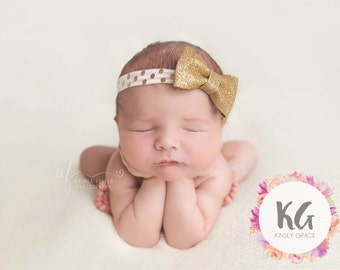 Gold Baby Headband - Baby Bow - Baby Girl Headbands - Baby Bow - Newborn Headband - Bow - Baby - Headbands for Baby - Baby Girl