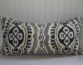Blue, Taupe, Grey and Ivory Ikat Pillow Covers in Bonita Slate