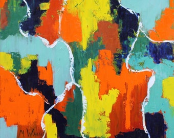 Palette Knife in  Orange, Green, Blue, Yellow and Red / 30 X 30 / Original Geometric Abstract Oil Painting