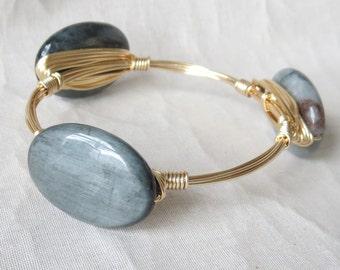 "Luminous Grey Cats Eye Stone Bangle Bracelet ""Bourbon and Bowties"" Inspired"