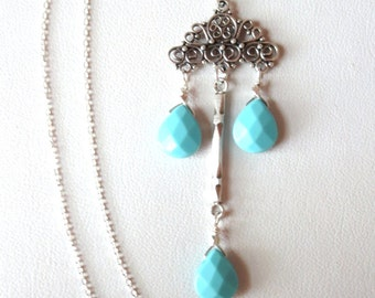 Turquoise Sterling Silver Pendant Necklace