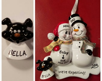 Personalized Black Dog ADD ON To Any Ornament