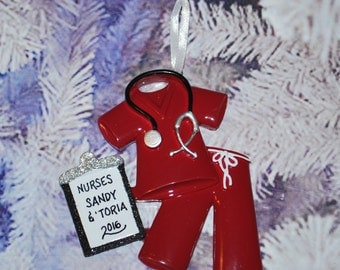 Personalized Doctor Physician Nurse Maroon Scrubs Christmas Ornament