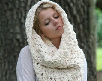 Trick Or Treat SALE Extra Chunky Cowl Scarf / THE CINCAR / Textured Big Circle Scarf Crochet Oversized Shawl Hood Fisherman