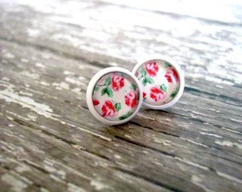 Pink Rose Stud Earrings : Cute Posts