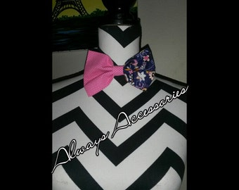 Navy Blue and Pink Bowtie