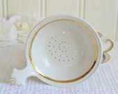 Porcelain tea strainer, vintage German afternoon tea utensil, Schwarzenhammer, Bavaria, please see details
