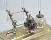 Desk organizer with inkwells, vintage Swedish office decor, silver plate and glass