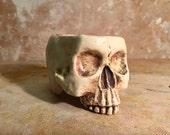 Ceramic Skull Mug Custom Antique and White