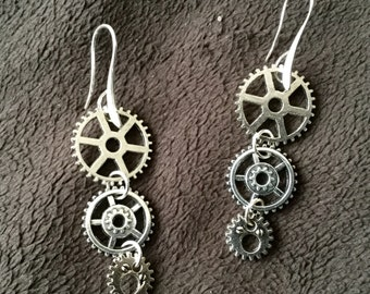 Steampunk Gears Silvertone Dangle Earrings
