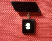 Vintage Cameo Brooch Black Lapel Pin Silhouette Vintage  Portrait Jewelry
