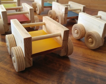 Wooden Toy Car Wagon and Wooden Peg People for MODplayhouse Eco-Friendly Toy