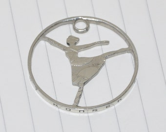 Russian ballerina Giselle classic party coin cut pendant necklace charm. 50 kopeck USSR circulated coin jewelry by invicia