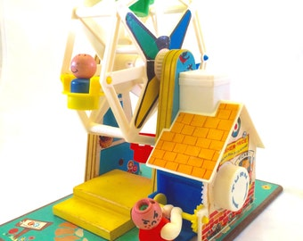 Vintage Fisher Price Music Box Ferris Wheel With Two Straight Side Fisher Price Little People Early Version Fisher Price Toys 969