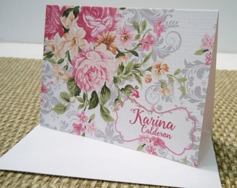 Personalized Flowery corner Stationery Set, Personalized Note cards, Set of 12 folded note cards and envelopes.