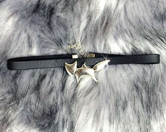 Choker Necklace Little Fox Foxy Pendant Black Faux Leather Jewelry Handmade , Gothic goth Punk Witch Wicked Lolita steampunk