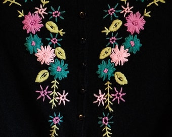 Vintage 1950s Black Cardigan Sweater with Pink and Turquoise Embroidered Flowers / Vintage Sweater / Size XS