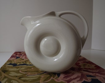 Vintage White Hall China Donut Pitcher With Ice Lip, #1335, Made in USA, Renowned Design, Highly Collectible, Art Pottery, Circa 1930's