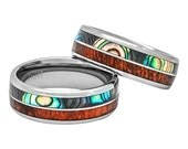 Mens Women's Wedding Band Hawaiian Koa Wood and Abalone Inlay in Tungsten 8mm Comfort Fit Size 6 to 15