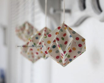 4 origami diamonds . origami ball . holiday ornaments . origami kusudama . paper diamonds -rainbow dots