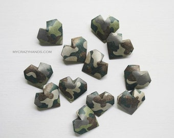 15 camo origami balloon hearts || military wedding | camouflage wedding | paper heart favors | gift for camouflage lovers -tradition