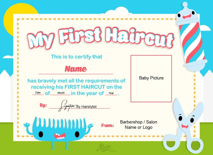 First haircut certificate baby haircut certificate 8x10 for My first haircut certificate template