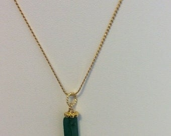 Green Agate tube, red Czech crystal, GF spacer & bell Christmas pendant with chain - Sale