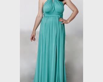 Imperial Green Long  Wrap Dress / Multy Way Bridesmaid Dress / Convertible Maxi Dress