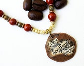 Coffee Mixed Media Pendant Necklace Mixed Media Jewelry Brown Bead Necklace Recycled Repurposed Coffee Lover Botanical Jewelry Seed Bead