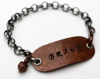 Brave Stamped Bracelet Beaded Jewelry Boho Rustic Copper Mixed Metal Inspirational