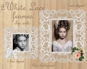 White LACE FRAME ClipArts Printable Download Wedding Frame for Photographer Web Blog Square Frame Rectangular Frame Bow Rose Cliparts FrO4